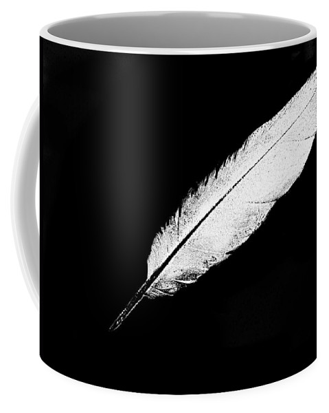 Feather White Black Back Ground .simple Coffee Mug featuring the digital art White Feather by Expressionistart studio Priscilla Batzell