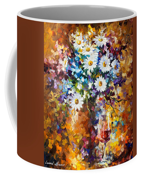 Oil Paintings Coffee Mug featuring the painting White Flowers - Palette Knife Oil Painting On Canvas By Leonid Afremov by Leonid Afremov