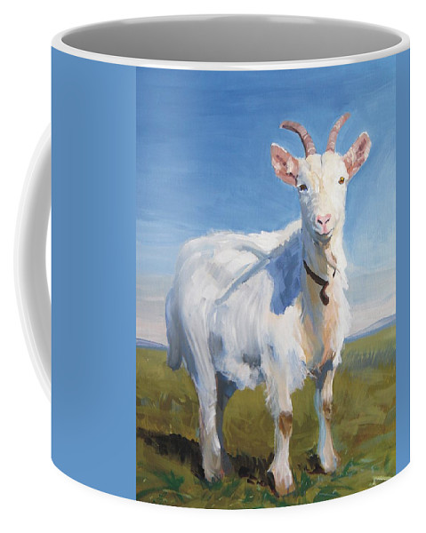 Goats Coffee Mug featuring the painting White Goat by Mike Jory