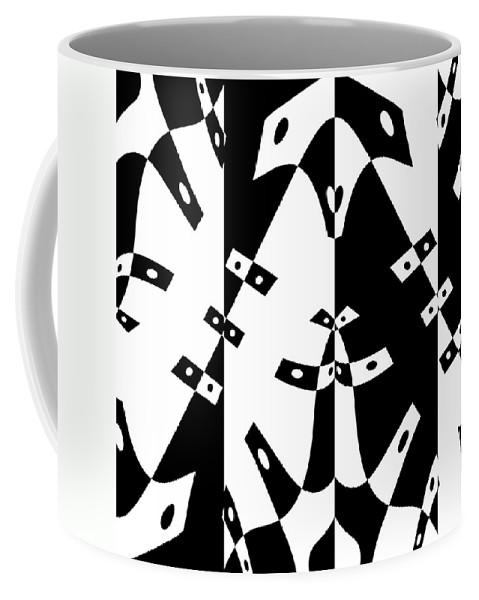 Black White Abstract Domino Gravity Space Expressionism Digital Art Coffee Mug featuring the digital art White Gravity by Steve K