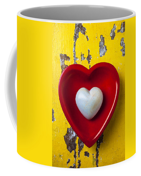 White Heart Red Hearts Coffee Mug featuring the photograph White Heart Red Heart by Garry Gay