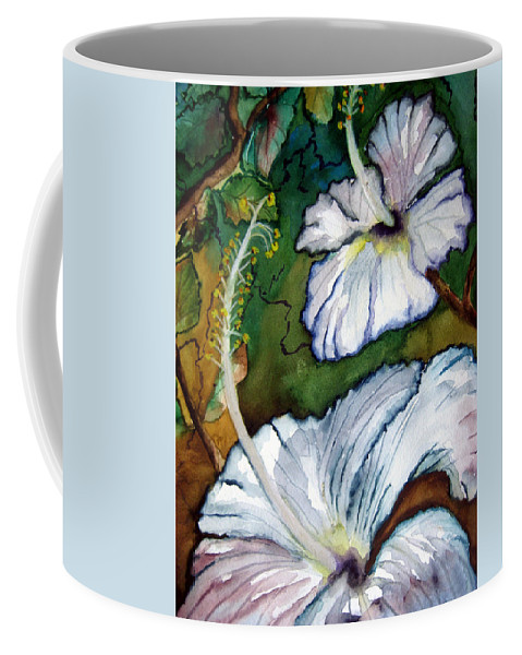 Yellow Coffee Mug featuring the painting White Hibiscus by Lil Taylor