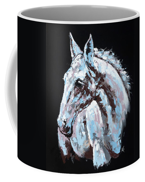 Abstract Horse Coffee Mug featuring the painting White Horse by Konni Jensen