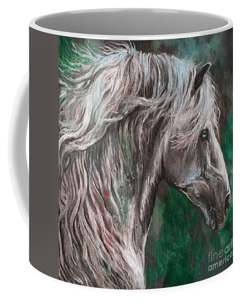 Horse Coffee Mug featuring the painting White Horse Painting by Angel Ciesniarska