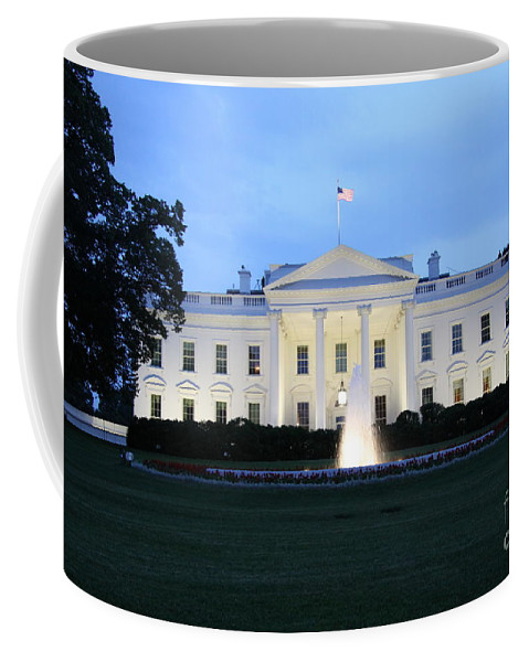 White House Coffee Mug featuring the photograph White House In Eveninglight Washington Dc by Christiane Schulze Art And Photography