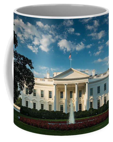White Coffee Mug featuring the photograph White House Sunrise by Steve Gadomski