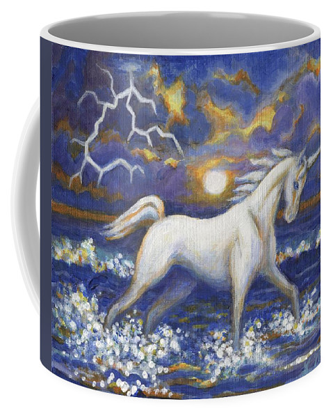 Horse Coffee Mug featuring the painting White Lightening by Linda Mears
