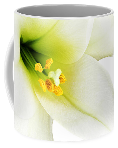 Beautiful Coffee Mug featuring the photograph White Lilly Macro by Johan Swanepoel