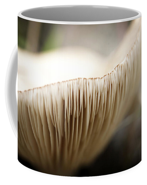 Soft Coffee Mug featuring the photograph White Mushroom Gills Closeup by Marilyn Hunt