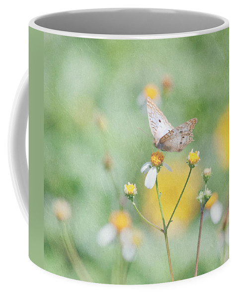 Butterfly Coffee Mug featuring the photograph White Peacock Butterfly by Kim Hojnacki