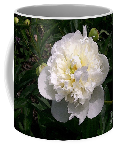 White Coffee Mug featuring the photograph White Peony Watercolor Effect by Laurie Eve Loftin