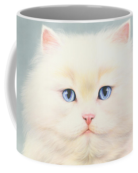 Andrew Farley Coffee Mug featuring the photograph White Persian by MGL Meiklejohn Graphics Licensing