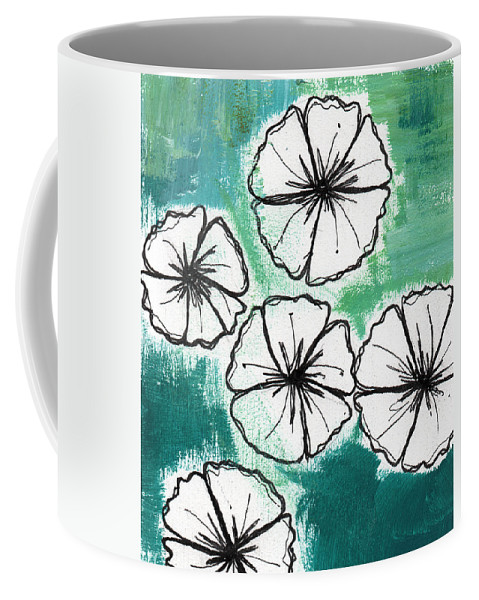 Flowers Coffee Mug featuring the painting White Petunias- Floral Abstract Painting by Linda Woods