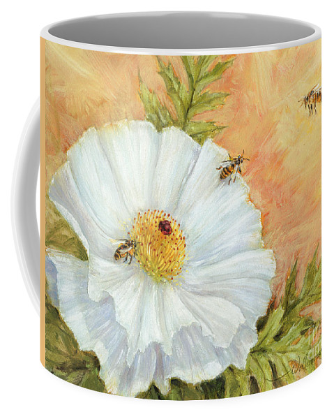 Poppy Coffee Mug featuring the digital art White Poppy And Bees by Randy Wollenmann