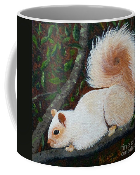 Squirrel Coffee Mug featuring the painting White Squirrel Of Sooke by Alicia Fowler