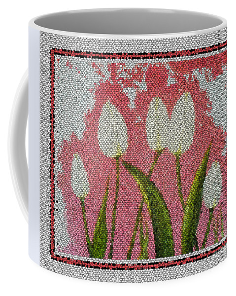 White Tulips On Pink In Stained Glass Coffee Mug featuring the photograph White Tulips On Pink In Stained Glass by Barbara Griffin