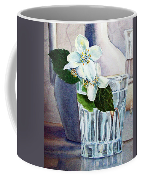 White Coffee Mug featuring the painting White White Jasmine by Irina Sztukowski