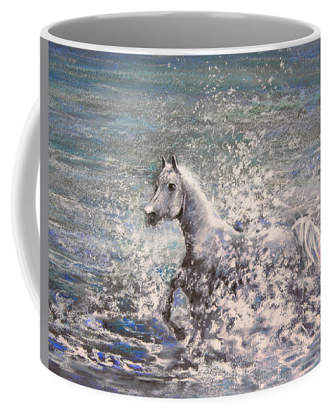 Wild Horse Coffee Mug featuring the painting White Wild Horse by Miki De Goodaboom