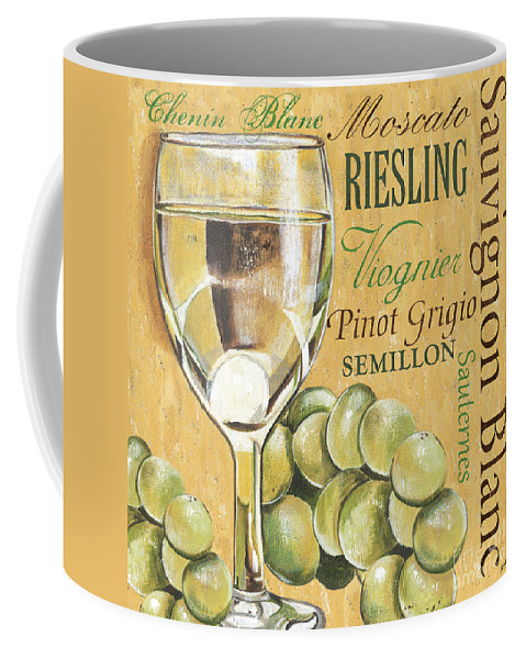 Wine Coffee Mug featuring the painting White Wine Text by Debbie DeWitt
