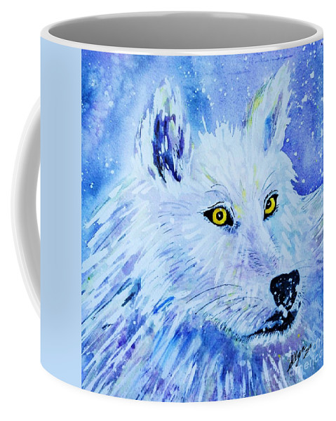 Aurora Coffee Mug featuring the painting White Wolf - Aurora Nights In Blues - Square by Ellen Levinson