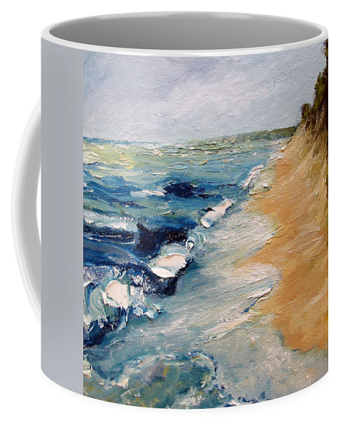 Whitecaps Coffee Mug featuring the painting Whitecaps On Lake Michigan 3.0 by Michelle Calkins