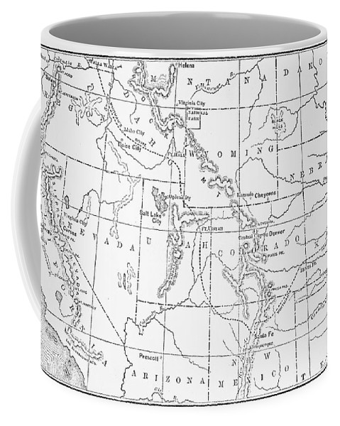 1843 Coffee Mug featuring the drawing Whitman's Route by Granger