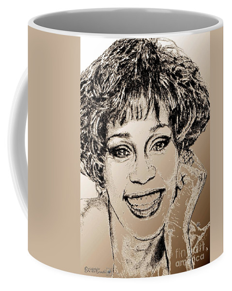 Whitney Coffee Mug featuring the digital art Whitney Houston In 1992 by J McCombie