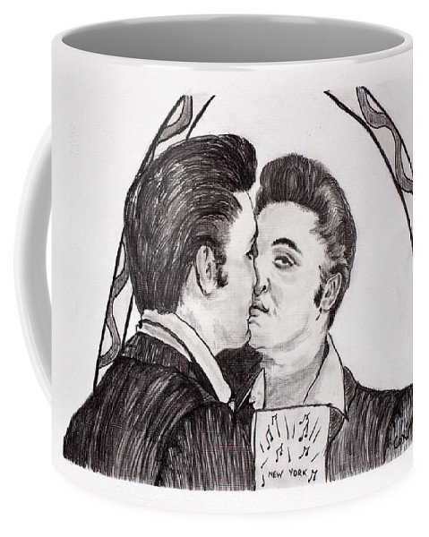 Elvis Coffee Mug featuring the painting Elvis Who Loves Ya Baby? by Corina Hogan