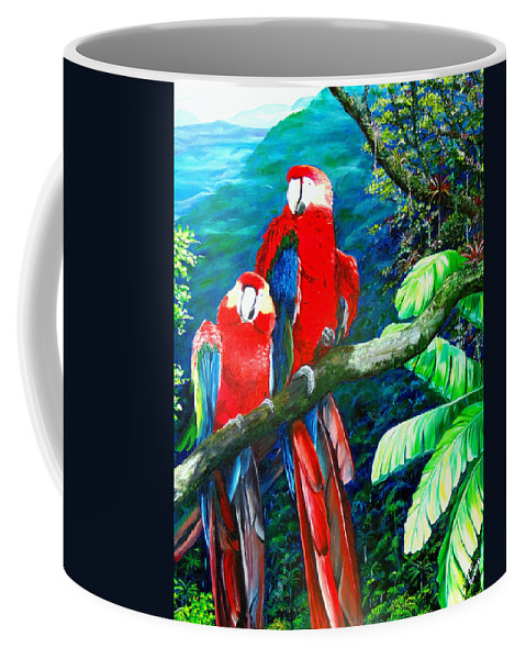 Caribbean Painting Green Wing Macaws Red Mountains Birds Trinidad And Tobago Birds Parrots Macaw Paintings Greeting Card  Coffee Mug featuring the painting Who Me  by Karin Dawn Kelshall- Best