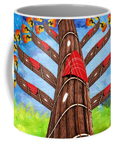 Andee Design Abstract Coffee Mug featuring the mixed media Why Pick On Me Guitar Abstract Tree by Andee Design