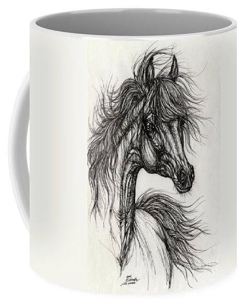 Horse Coffee Mug featuring the drawing Wieza Wiatrow Polish Arabian Mare Drawing by Angel Ciesniarska