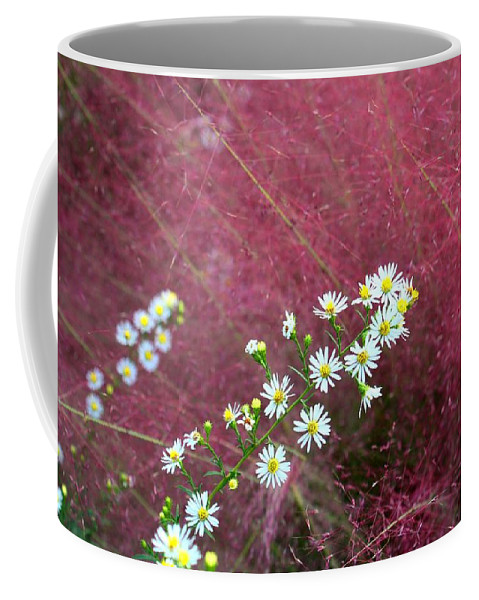 Aster Coffee Mug featuring the photograph Wild Asters And Muhly Grass by Kathryn Meyer
