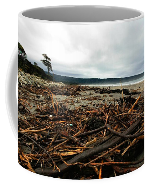 Driftwood Coffee Mug featuring the photograph Wild Beach New Zealand by Amanda Stadther