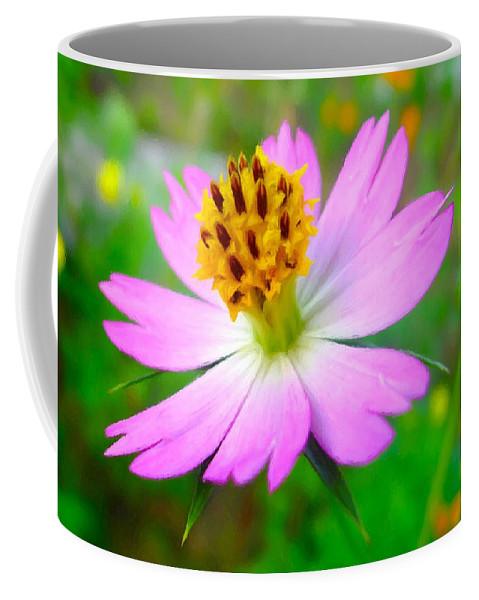 Wild Cosmos Flower Coffee Mug featuring the painting Wild Cosmos Flower by Jeelan Clark