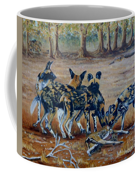 Wild Dogs Coffee Mug featuring the painting Wild Dogs After The Chase by Caroline Street