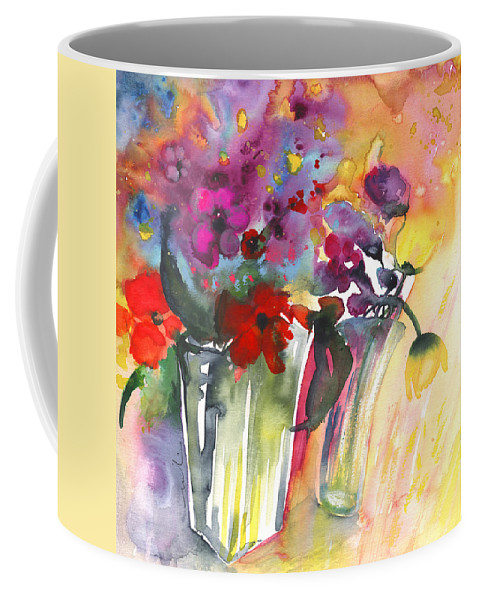 Florals Coffee Mug featuring the painting Wild Flowers Bouquets 02 by Miki De Goodaboom