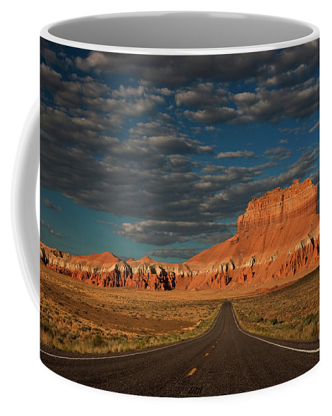 North America Coffee Mug featuring the photograph Wild Horse Butte And Road Goblin Valley Utah by Dave Welling
