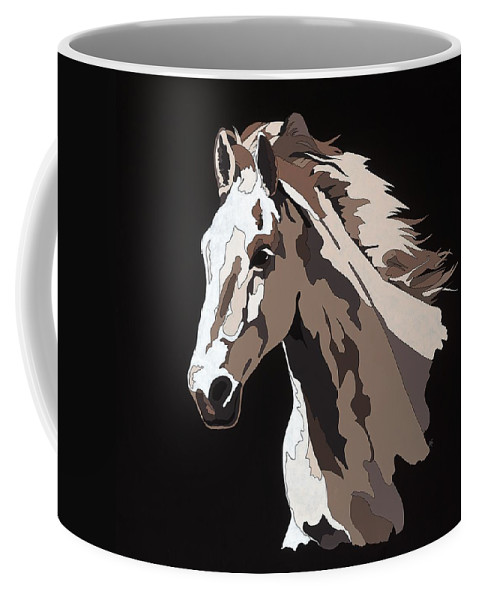 Abstract Horse Coffee Mug featuring the painting Wild Horse With Hidden Pictures by Konni Jensen
