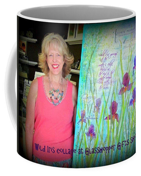 Iris Coffee Mug featuring the photograph Wild Iris Collage At Glasshopper Gifts Show by Carla Parris