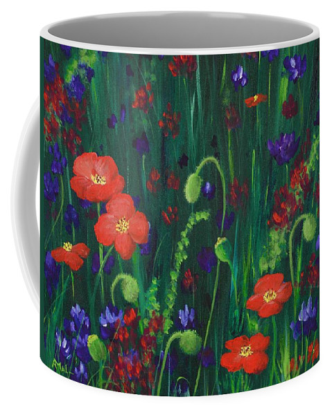 Wildflowers Coffee Mug featuring the painting Wild Poppies by Anastasiya Malakhova