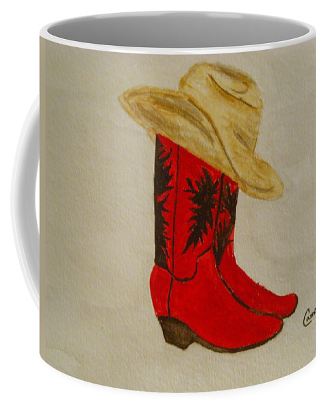 Texas Arizona Cowboy Cowgirl Stetson Cowboy Boots Red Ranch Western Southwest Wild West Saloon Line Dance Coffee Mug featuring the painting Line Dancin' by Colleen Casner