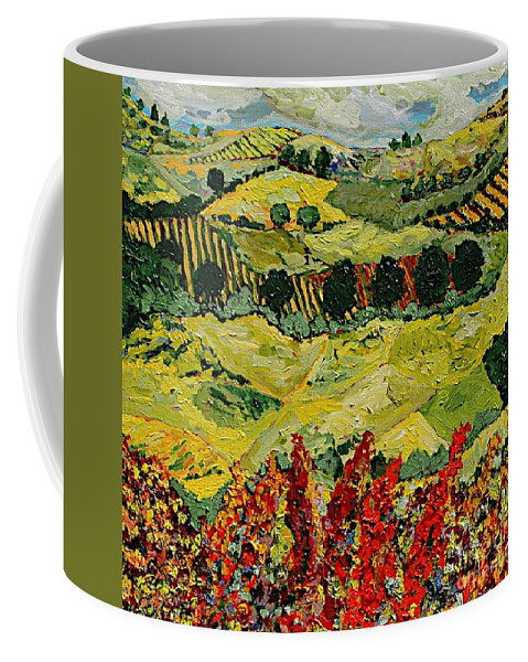 Landscape Coffee Mug featuring the painting Wildflower Jungle by Allan P Friedlander