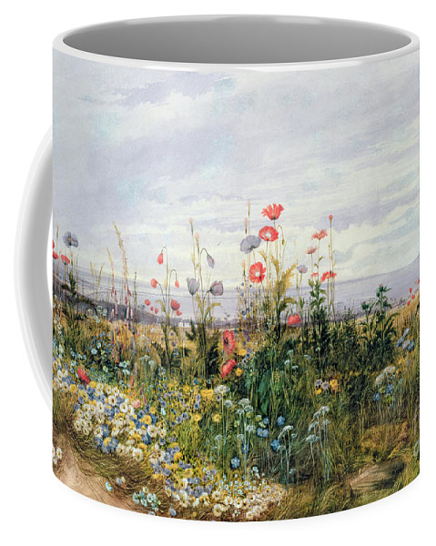Meadow; Flowers; Irish; Wild; Landscape; Poppies Coffee Mug featuring the painting Wildflowers With A View Of Dublin Dunleary by A Nicholl