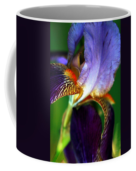 Iris Coffee Mug featuring the photograph Wildly Colorful by Deborah Crew-Johnson