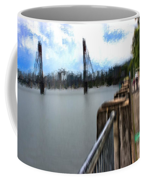 Coffee Mug featuring the mixed media Willamette Riverwalk South by Terence Morrissey