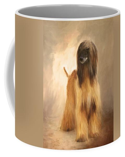 Afghan Hound Coffee Mug featuring the painting Willem Van Oranje by Diane Chandler