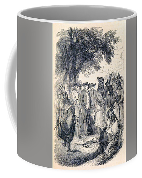 History Coffee Mug featuring the photograph William Penns Treaty With The Indians by British Library