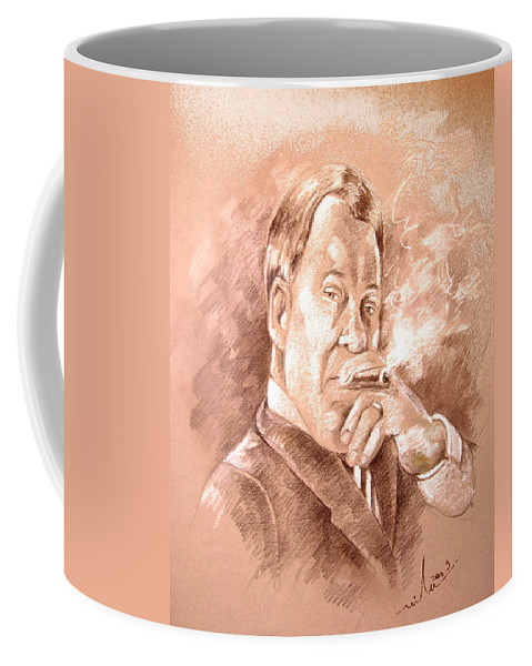 Portrait William Shatner Coffee Mug featuring the painting William Shatner As Denny Crane In Boston Legal by Miki De Goodaboom