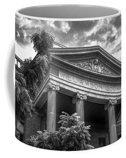 Joan Carroll Coffee Mug featuring the photograph Williamson County Courthouse Bw by Joan Carroll