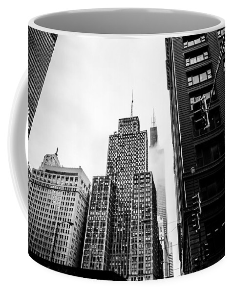 Chicago Coffee Mug featuring the photograph Willis Tower In The Clouds - Black And White by Anthony Doudt
